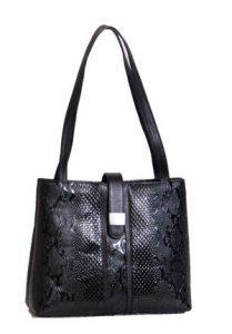 Black Snake Print Handbag
