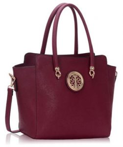 Burgundy Polished Metal Handbag Silk Avenue Intl