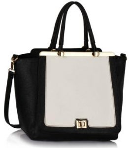 Black White Metal Frame Tote Handbag
