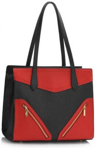 Red-Black Detail Shoulder Bag
