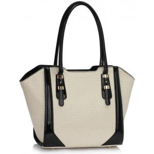 Cream Croc Style Shoulder handbag