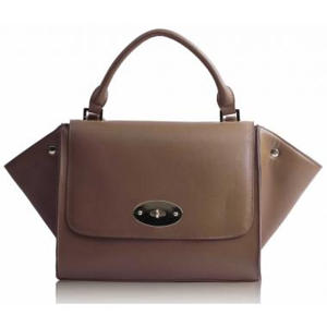 Tan Flap Satchel Handbag Silk Avenue Intl