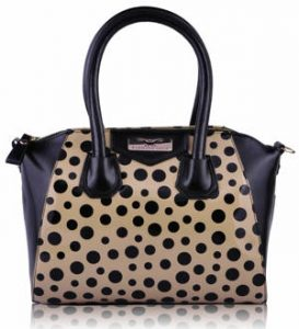 Tan Polka Dot Satchel