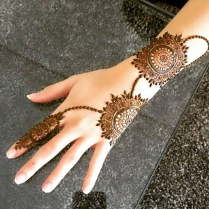 Arabic Flower Design Mehndi Back Hand