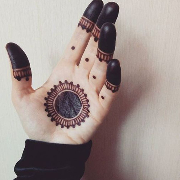 easy mehndi design for palm