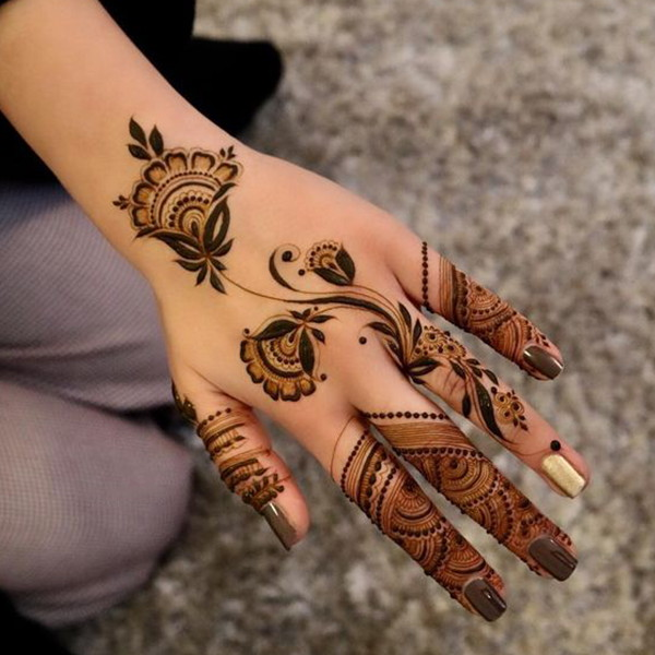 flower designs mehndi wrist