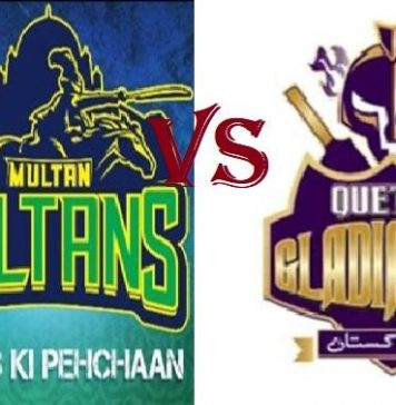 Quetta Gladiators take on Multan Sultan in Sharjah Stadium 20 Feb 2019