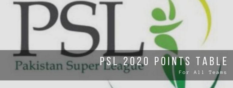 Pakistan Super League 2020 Points Table for all teams